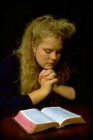 Girl read Holy Bible